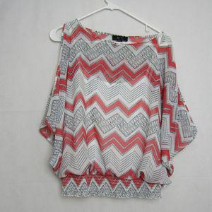 BCX Tops - BCX Chevron Print Cold Shoulder Blouse Shirt Large